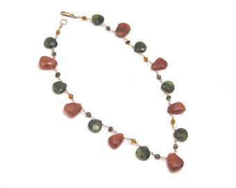 garnet necklace, garnet drop necklace, drop necklace, briolette necklace, hessonite garnet necklace, green and orange/brown garnets