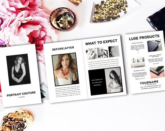 Photoshop template brochure for glamour, beauty, and boudoir photographers ~ magcloud compatible