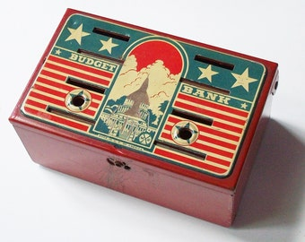 American Toy Bank from Marx / Imagery of Capital with an Airplane Etched into the Surface / Airforce