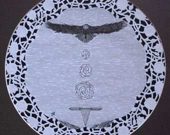 OOAK Nature eagle flowers geometry Art Pen Drawing,Original art drawing,Pen and ink art,Abstract art,Pen drawing,Surreal art,Original life
