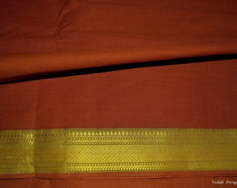 Burnt orange handloom sari fabric cotton Mangalgiri by the yard