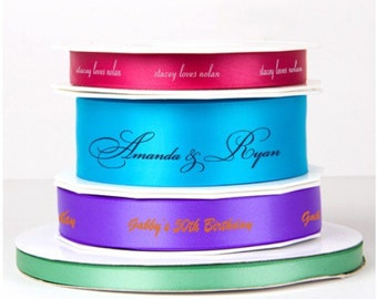 personalized ribbon, custom ribbon, gift ribbon, foil stamped ribbon, reception favor ribbon, decorative ribbon