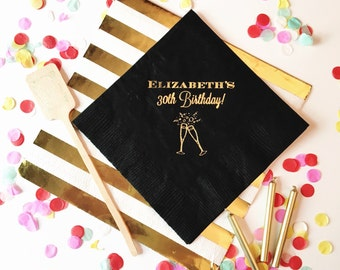 Birthday napkins, 30th birthday napkins, party napkins, gold foil napkins, birthday party decor, party supplies, cheers napkins