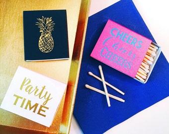 Party matches, Reception matches, Foil stamped matchbox, pineapple decor, bar cart, matchbox favor, cheers matches, party favor match book