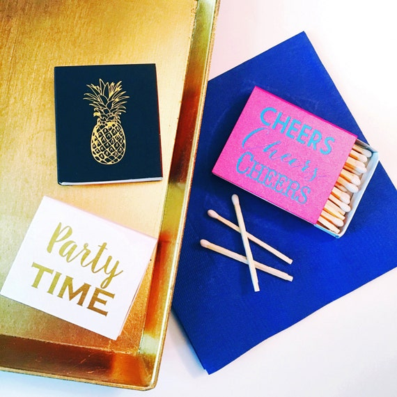 Party matches, Reception matches, Foil stamped matchbox, pineapple decor, bar cart, matchbox favor, cheers matches, party favor match book