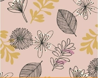 Cotton fabric by the yard - Modern Fabric - Quilt Fabric - Fat Quarter Bundle - Pink floral - Clearance Fabric - Pink Floral Fabric