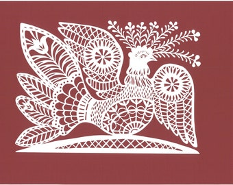 "Papercut Scherenschnitte called ""Bird of Fortune"" by famous Lithuanian artist."