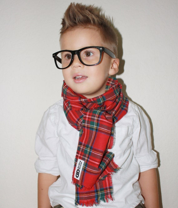 Plaid toddler scarf- flannel- childrens scarf- one size