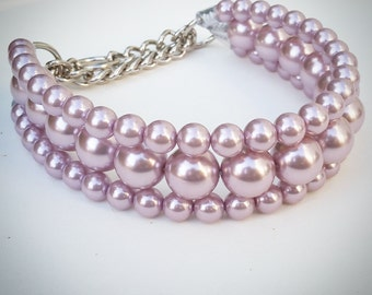 The Via in Lilac ~ Pearl Dog Collar,Cat collar, Buckle Collars, Martingale Collars, Dog Pearls UNBREAKABLE GUARANTEE!
