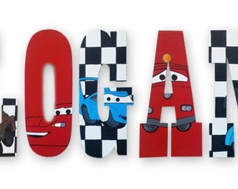 hand painted disney cars inspired wooden wall letters