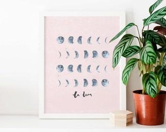 Moon Phases Illustrated Art Print - la luna