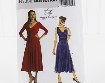 Butterick Knit Dress Pattern, Uncut Sewing Pattern, Butterick 5080, Size 6-12