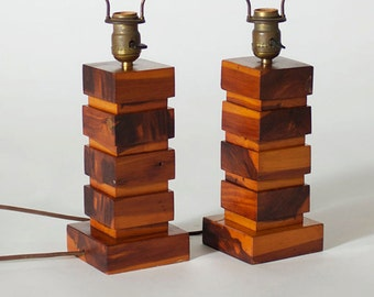 Vintage Folk Art Cedar Block Lamps