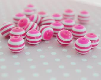 10mm Hot Pink/White Stripe Bead -20 piece set