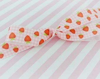 5 yds Strawberry and Pink Gingham Ribbon