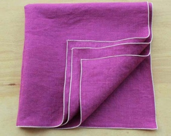 "Magenta Linen Napkins, Hot Pink Napkins, Wedding Napkins, Linen Napkins, Orchid Purple Napkins, Cloth Napkins, 20"" sq."