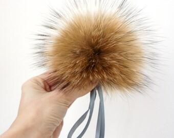 Real Fur Pom Pom Hat Raccoon Pompom Fox Fur Pompom Large Pom Poms Fur Ball