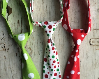 Spring Tie - Boy Neck Tie - Newborn Tie - Toddler Neck Tie - Wedding Tie - Polka Dot Tie - Green Tie - Red Tie - Boy Photo - Easter Tie