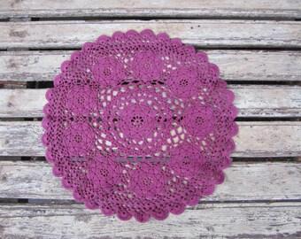 Dark Pink Crochet Vintage Lace Doily - Fuchsia