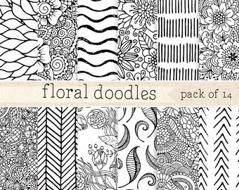Doodles Digital Paper: Black and white Scrapbook Pattern Set, Hand drawn Blog Background Pack with flowers, waves, leaves, Packaging design