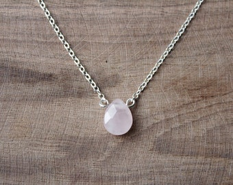 Pink Rose Quartz Teardrop Gemstone Bead // Dainty Gold or Silver Chain Choker Necklace // Drop Bead