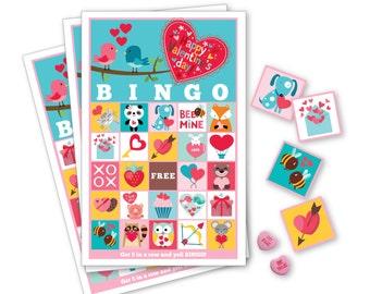 Valentine BINGO Game - Kid's Printable Bingo Game - Bingo Game for Kids - Valentine Bingo Instant Download - Classroom Valentine Bingo