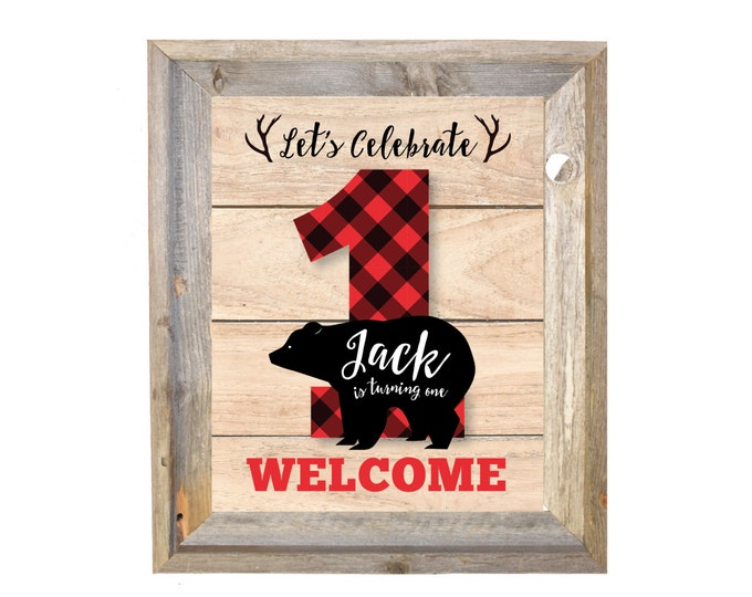 Boy's Lumberjack Party, Welcome Sign, bear, buffalo plaid, wood / Rustic Woodland Lumberjack boy, - Printable - Custom Text - DIY