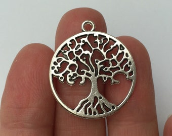 6 Tree of Life Charms Antique Silver 29mm x 25mm - SC726