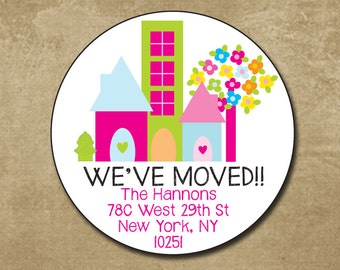 We've Moved Round Address Label, Address Stickers, New Home, Envelope Seals, Moved to the City, Address Labels, Personalized Return Label