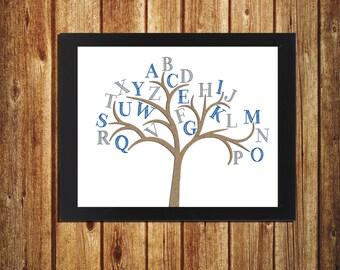 Alphabet Tree - ABC Wall Art - Nursery Decor - Toddler Room Decor - Wall art - 8x10 - Blue and Grey