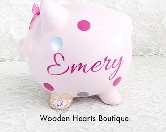Large Pink Bank, Personalized Piggy Bank, Baby Girl, First Birthday, Piggy Bank, Custom Bank, Toddler Bank, Pink Nursery, Princess Bank.