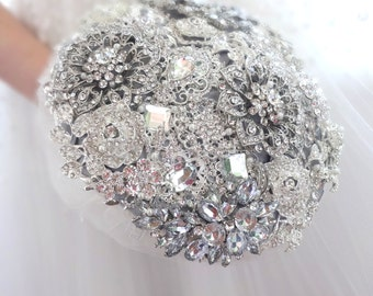 BROOCH BOUQUET for bride or bridesmaids, cheap economy style, silver jewled with crystals