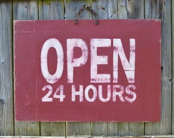 Fantastic large wooden open 24 hours sign board shop garage distressed paint