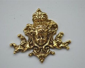 Small antique style cherubs head solid brass furniture mount ormolu H8