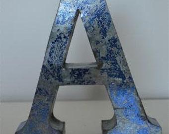 Medium vintage style 3D blue letter A