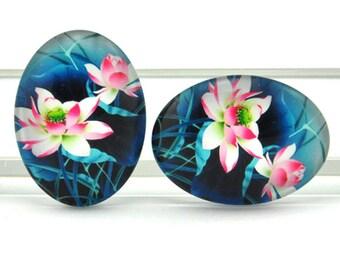 4pcs 30x40mm Oval Handmade Photo Glass Cabochon  -lotus\Rose Flower -A03