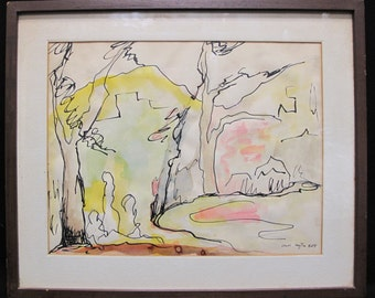 Beautiful Vintage Ethel Haytin Koff Watercolor and Ink Painting