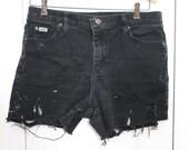 Vintage Grunge Black Lee Highwaisted Distressed Jean Shorts S/M