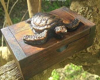 Resin Sea Turtle Hawaiian Honu Teakwood Box