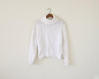 90s white sweater / turtle neck sweater / vintage white knitted top