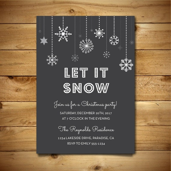 snowflake black and white winter invite