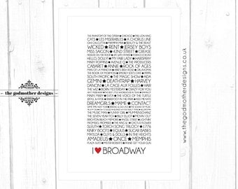 I LOVE BROADWAY  Typographic Print **Digital File Only**