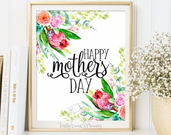 Happy mother's day printable mothers day print gift for mom mother's day decor mom print gift idea for mum digital floral decoration 3-119