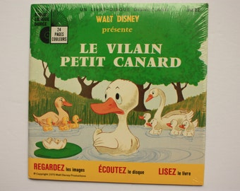 Walt Disney Le Vilain Petit Canard Ugly Duckling, sealed French book and French record  see, hear, read series, 33 record. Record and book