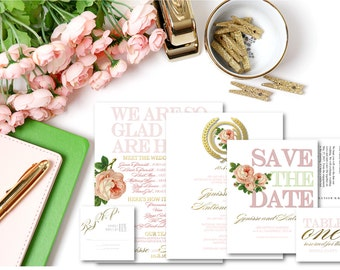 Pink and Gold Wedding Invitation Suite. Includes save the date, insert cards, program and more