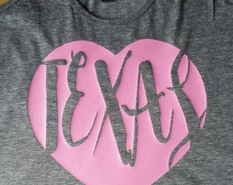 Texas heart pink,Texas shirt,pink Texas tee,Texas pride shirt,Texas born,Texas spirit,Texas home,Texas tank,I love Texas tshirt,Texas born