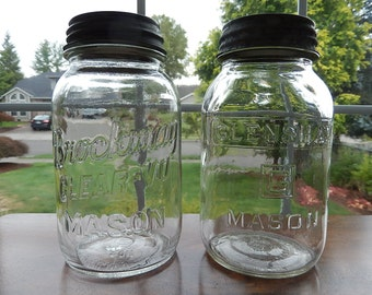 Vintage Jars; Brockway and Glenshaw Quart Mason / Fruit / Canning Jars; Mid-Century Gems; Two Jars for the Price of One.