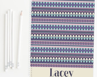 Personalized notebook with tribal print, glossy spiral notebook, custom notebook, school notebook, back to school supplies
