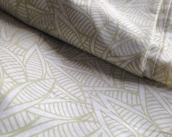 Organic Cotton, Jungle Print,Soft Green, Pale Khaki, Leaf print, Indian Fabric,Nature Print, Lightweight, By the Yard, Breathable Fabric