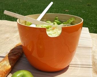 Bamboo Salad  Set/ Bamboo Bowl With Matching Servers/Orange Salad Bowl Set/ Bamboo Salad Spoons With Big Salad Bowl